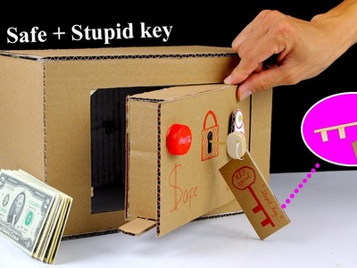 How to make a Safe Locker From Cardboard with ' Stupid ' Key - Mr H2 Diy Toys