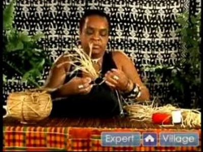 How to Make African Crafts : Attaching Raffia to an African-Themed Decorative Pillow