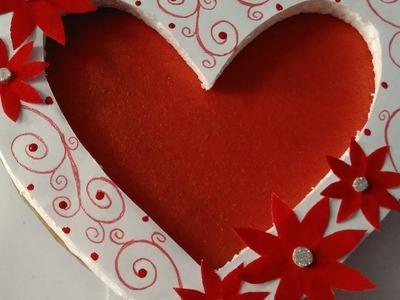 How to make beautiful photo frame  heart shape photo frame  easy and simple photo frame
