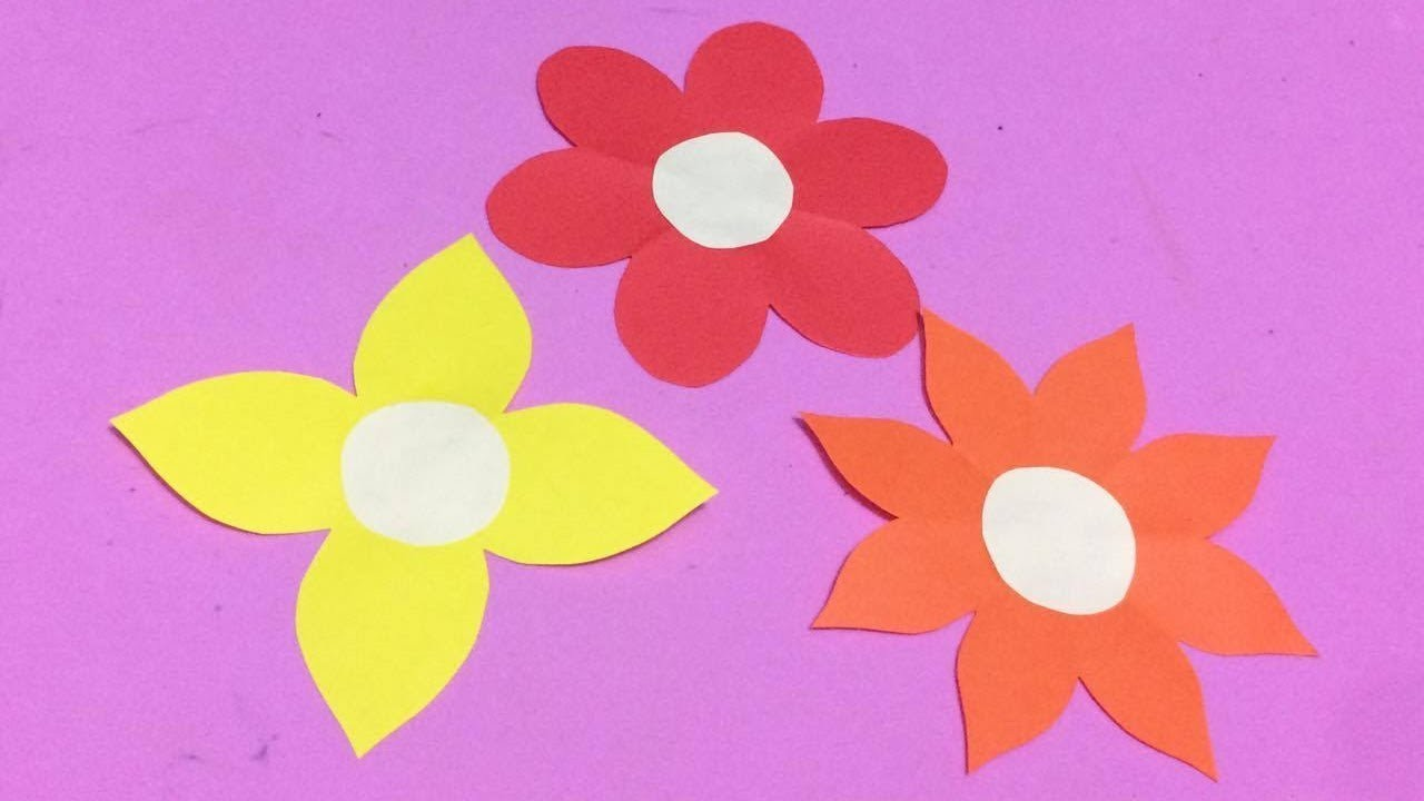 How To Make Easy Flower With Color Paper Diy Paper Flowers Making