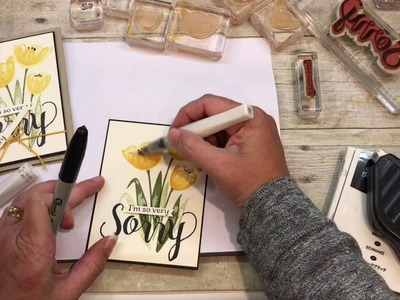How to make two Simple Cards with Stampin Up's Tranquil Tulips and Colorful Seasons Stamp Sets