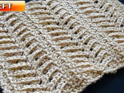 Lacy Arrow Crochet Stitch - Left Handed Crochet Tutorial