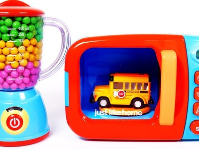 Learn Colors with Vehicles Toys for Children Microwave Playset