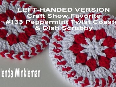 LEFT-HANDED VERSION #133 Peppermint Twist Coaster & Dish Scrubby