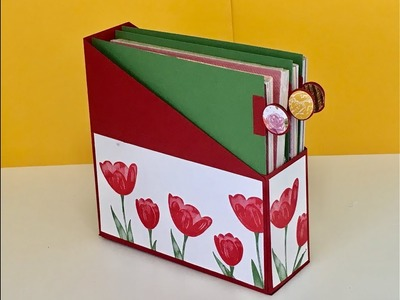 Magazine Style Storage Box - Ideal for DSP Stacks - Tutorial with Stampin' Up Tempting Tulips