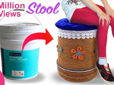 Make Sitting STOOL from Reusing Waste Paint Bucket   Best Out of Waste   Home Decorating Idea