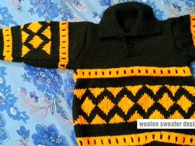 New sweater designs for kids or baby in hindi | handmade woolen sweater designs | two colour