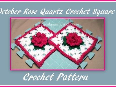 October Rose Quartz Crochet Square