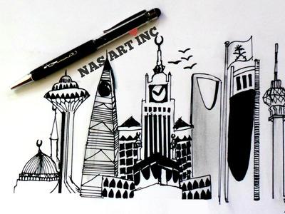 SAUDI ARABIA SKYLINE  SPEED DRAWING  ❤❤❤❤