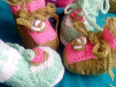 Tuto:chaussons bébé au tricot au point ajouré.zapatitos para bébé.baby booties :2:2