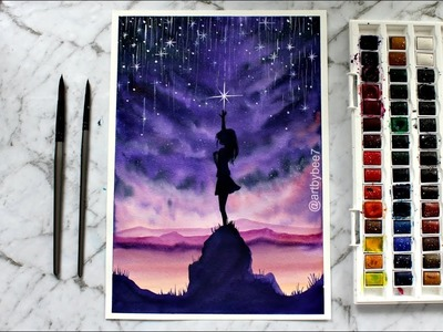 Watercolor Painting 'Catch the Stars'