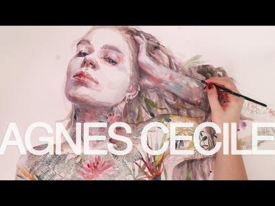 Watercolor portrait - leaves on skin