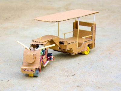 Wow! Trick 9v Battery Ideas Dc motor - How To Make a Rickshaw Electric Powered Cardboard ( Tuk Tuk )