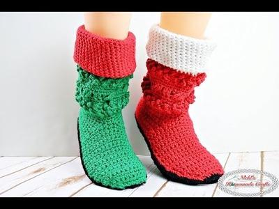 Adult Christmas Santa and Elf Booties - Crochet Along - Part 1