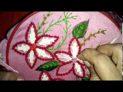 Beautiful embroidery flower with combination of stitches