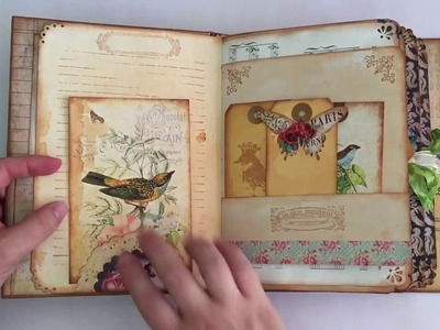 Birds and butteflies vintage style journal for a swap on JJJ