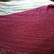 Dark Red Home Made Shawl