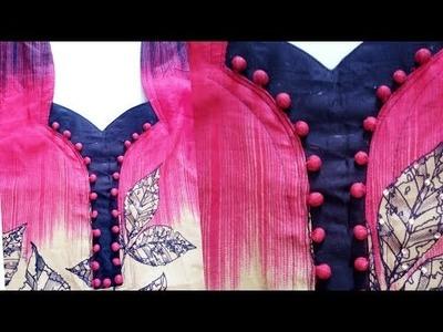 Designer neckline with potli buttons