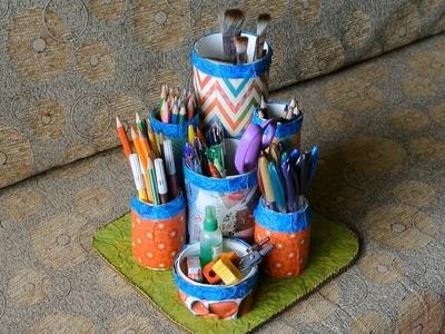 DIY Best out of Waste - Multipurpose Desk Organizer