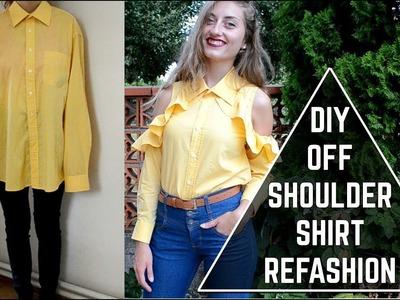 DIY Off-Shoulder Ruffle Shirt. DIY volánová košeľa (SK,EN sub)