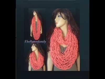 How to Arm Knit a Infinity Scarf with a Tshirt yarn Pattern #47│by ThePatternfamily