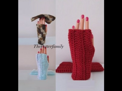 How to Crochet Fingerless Gloves Pattern #49│by ThePatternfamily