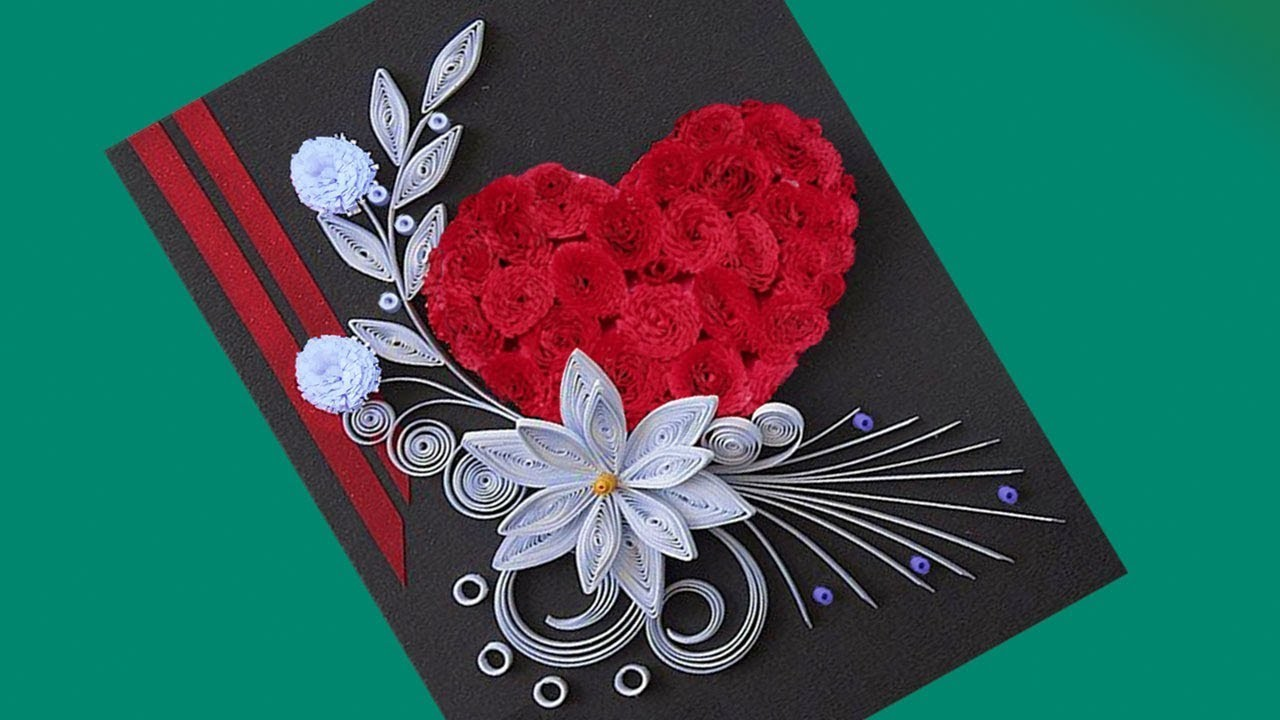 How to make beautiful flower with heart design greeting card paper how to make beautiful flower with heart design greeting card paper quilling art m4hsunfo