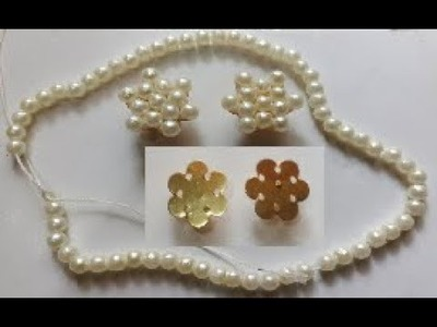 How to make beautiful pearl studs. pearl studs making with needle & thread