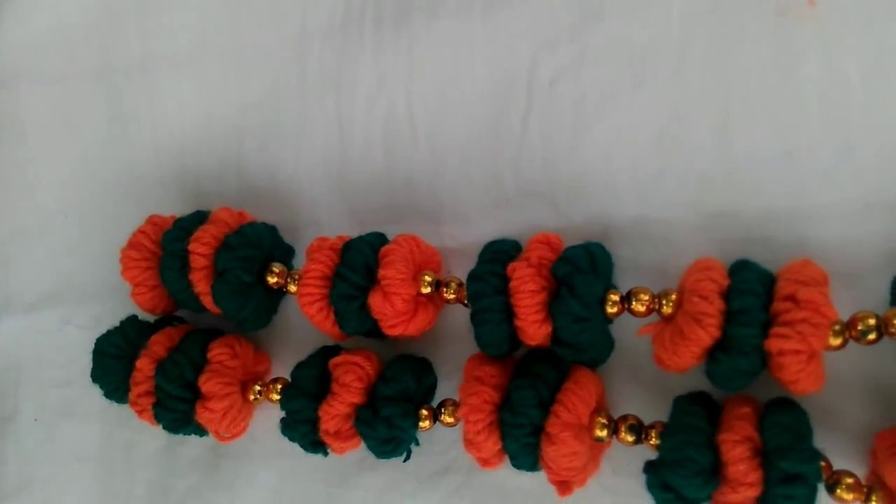 How to make garland|How to make wollen garland by using simple things|home made garland