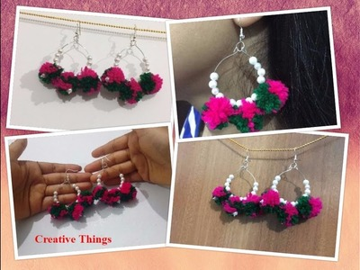How To Make Simple Pom Pom Hoop Earrings At Home || Pom Pom Earrings || Creative Things