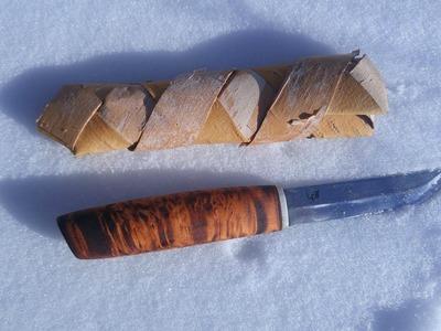 How To Weave a Simple Birch Bark Knife Sheath.
