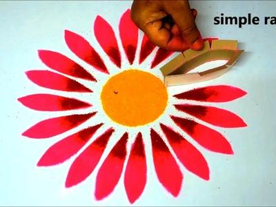 Innovative flower rangoli designs using crafts || easy kolam designs || simple modern muggulu
