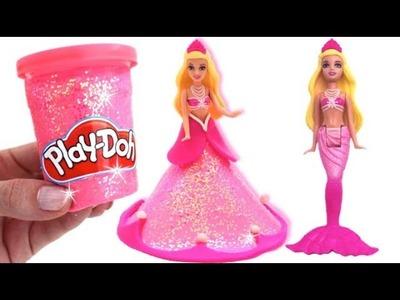 Learn Colors Play Doh Making Colorful Barbie Princess Dress Surprise Fruit Toys