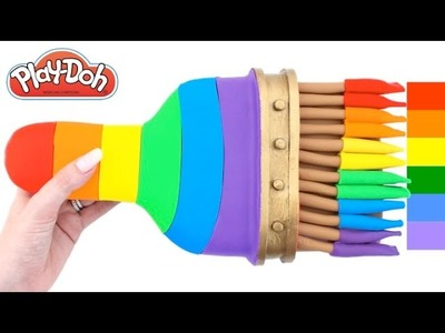 Learn Colors with Giant Play-Doh Rainbow Paintbrush * Surprise Toys RainbowLearning