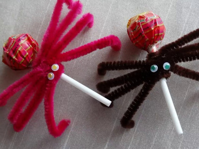 Lollipop spiders-How to make Spider Lollipops Halloween DIY