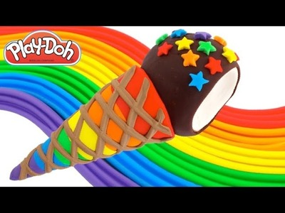 Play-Doh How to Make a Rainbow Cone Ice Cream * Creative DIY for Kids RainbowLearning