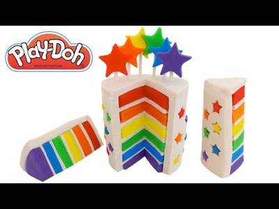 Play-Doh How to Make a Rainbow Star Cake * Creative DIY for Kids * RainbowLearning