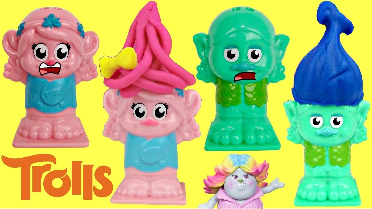 POPPY & BRANCH BALD! TROLLS Play-doh Press n Style Hair Salon Brigette Paw Patrol Skye, Chase. TUYC