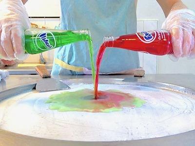 Red Fanta w. Green Fanta! Strawberry Blueberry Ice cream VS vanilla Oreo ice cream rolls