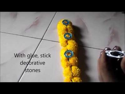 Varalakshmi Vratham decoration for idol or  kalasam   alankaram with fresh flowers  