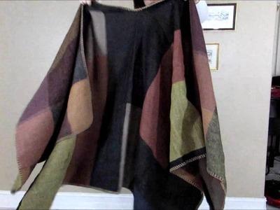 Womens Blanket Winter Tartan Knitted Cardigans Scarf Shawl Poncho Cape