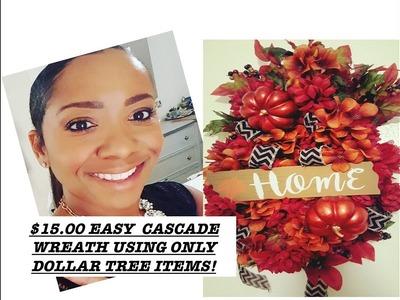 $15.00 EASY CASCADE WREATH USING DOLLAR TREE ITEMS!
