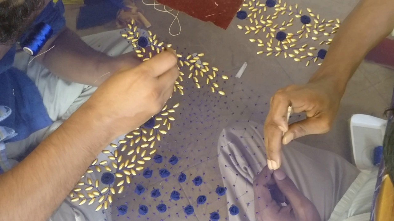 A beautiful work with rice pearls embroidery
