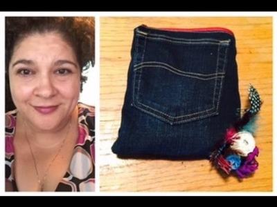 BLUE JEAN Pencil or makeup BAG (3 Pockets in 1)