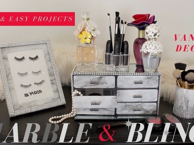 DIY MARBLE & BLING VANITY DECOR | DOLLAR TREE GLAM VANITY DECOR