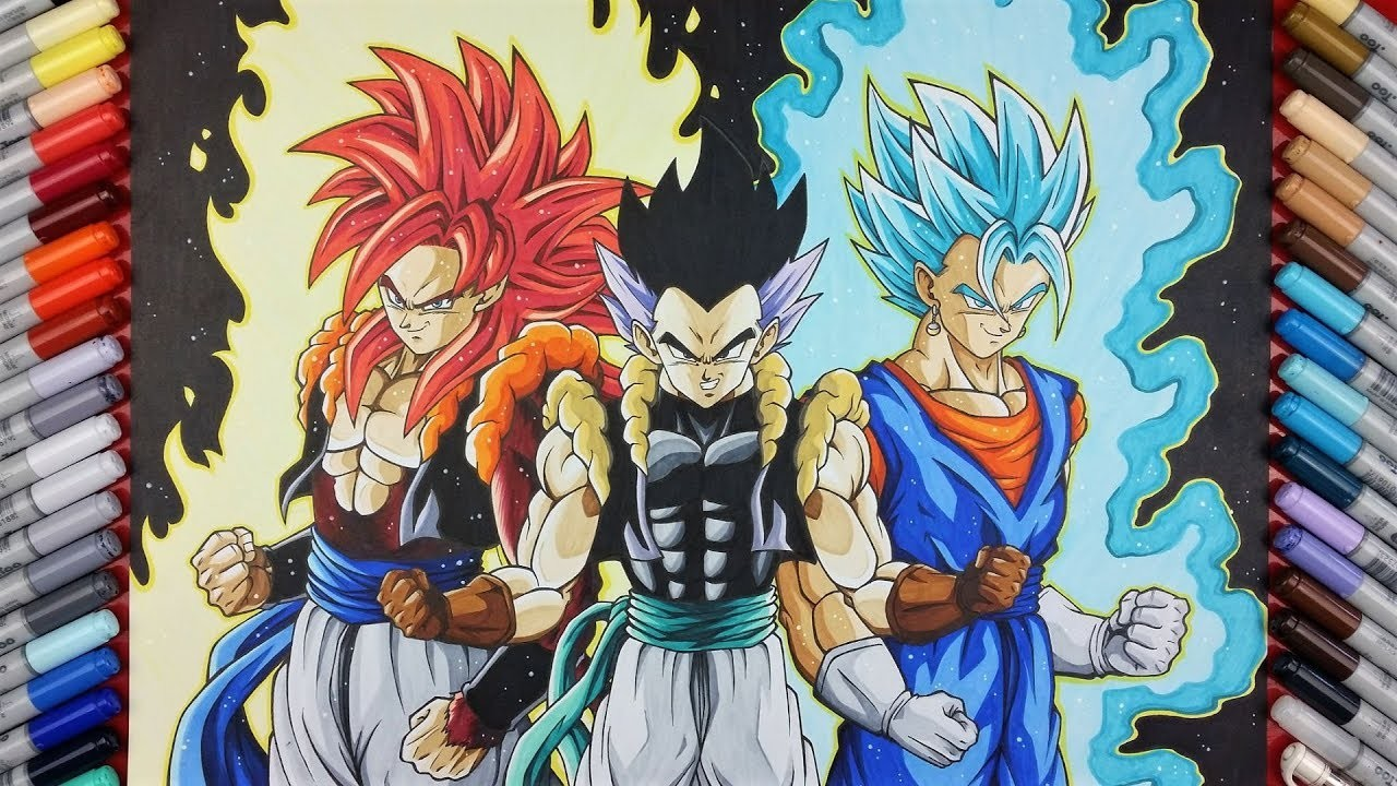 Drawing GOGETA SSj4, VEGITO SSj Blue & Adult GOTENKS ...