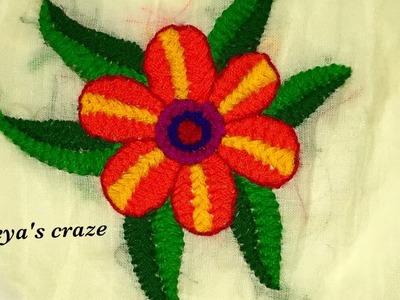 Easy Cross stitch flower and leaf(z herringbone stitch) | Keya's craze | hand embroidery-68