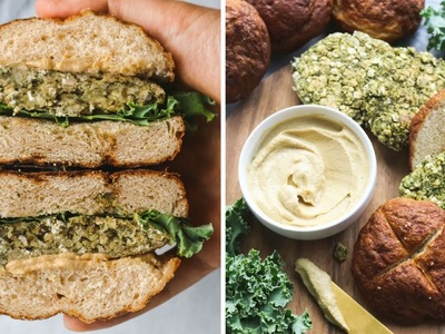 Easy Vegan Kale Burgers + Homemade Pretzel Buns ????????
