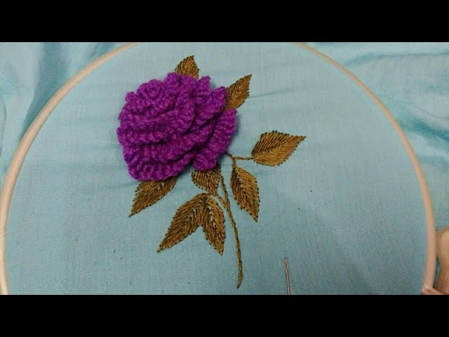 Hand embroidery d rose flower with easy basic stitch my