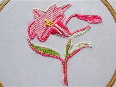 Hand Embroidery Design of Wired Based Lily Flower ( Part 2 )